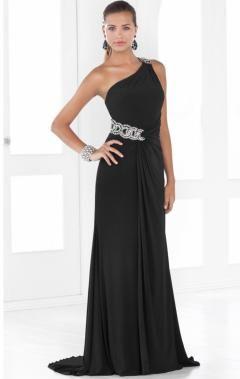 this black one shoulder formal dress look elegant.