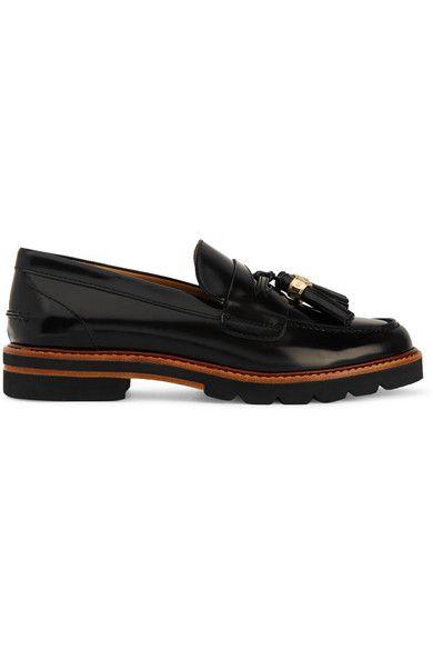 Stuart Weitzman - Manila Glossed-leather Loafers - Black - IT36.5