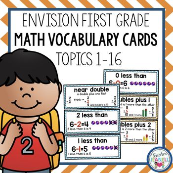 enVision Math Vocabulary Cards - This resource includes 85 math vocabulary cards that align with the first grade enVision Math curriculum. These vocabulary cards can be used to introduce and reinforce words for Topics 1-16.