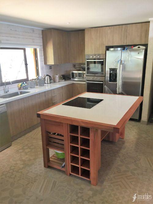 Muebles de cocina en melamina de 18mm, muebles isla en raulí ...