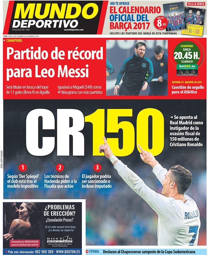 Portada Mundo Deportivo, martes 6 de diciembre de 2016