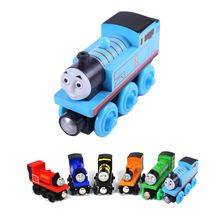 wooden toys thomas train Magnetic thomas and friends Wooden Model Train for baby children Kids 6 Colors(China (Mainland))