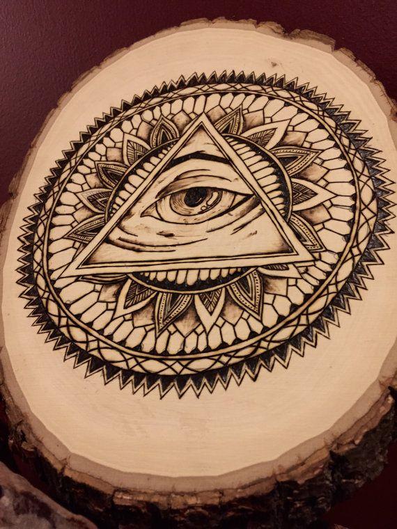 Third Eye Mandala Wood Burning All Seeing Eye By