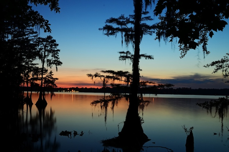 Sunset at Lake Jackson in Florala, Alabama. Taken from the south side of the lake which is just inside of Florida.
