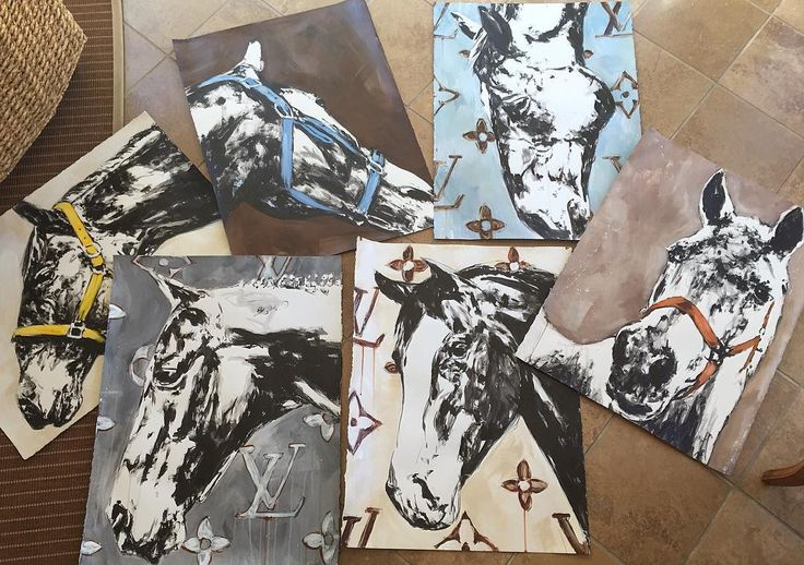 just some of the paintings on paper loaded up and headed to @hardingartshow #carriepenleyart #equestrianstyle #horseart #equestrianchic #equestrianfashion