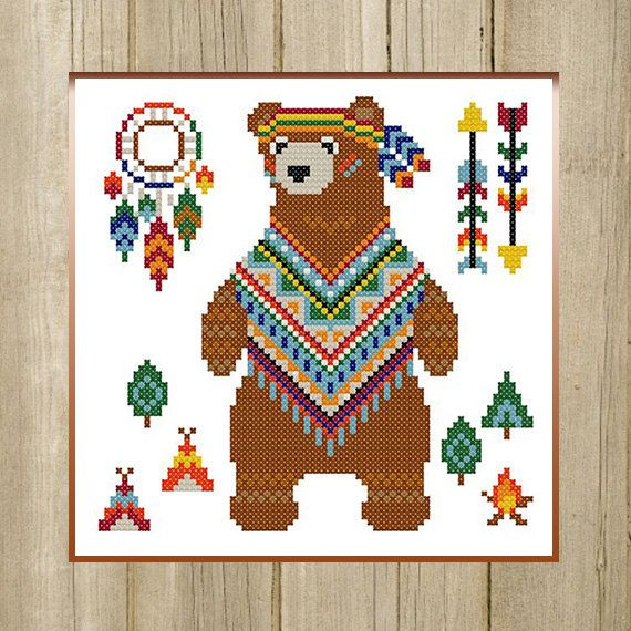 PDF. Bear Indian. Cross stitch pattern animal by SecretFriends