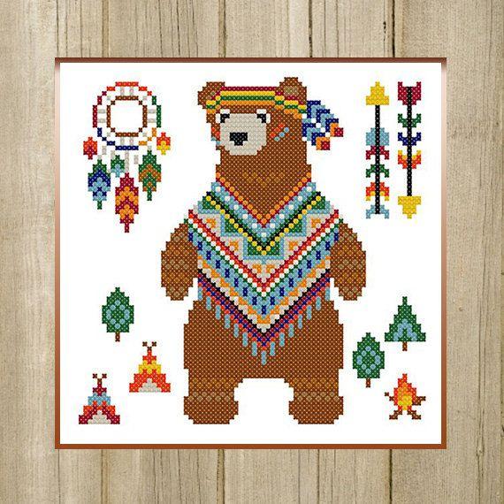 PDF. Bear Indian. Cross stitch pattern animal by SecretFriends
