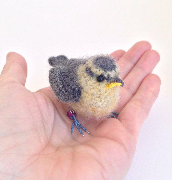 Baby bluetit crochet bird art sculpture by FreshlyKnittedThings ♡