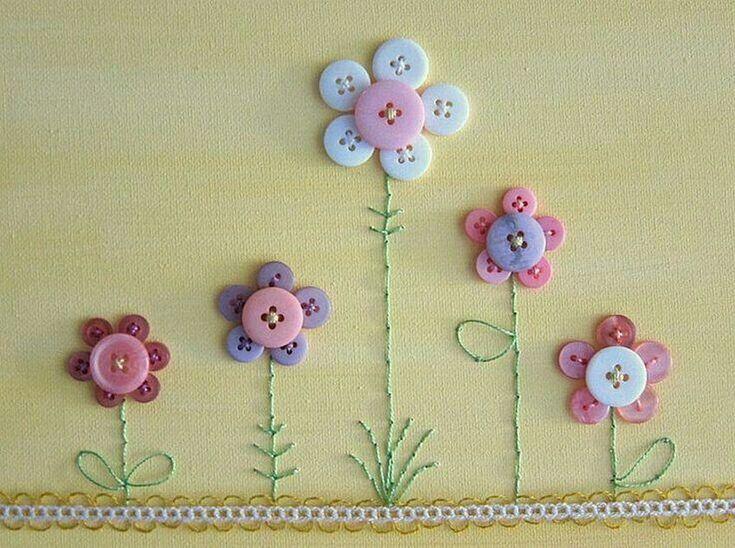 Изделия из пришитых пуговиц цветок; фото-подборка из 10 ...
