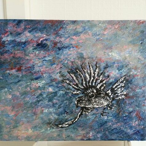 Painting birds again .... sparrow in blue sky and winds .... nz art