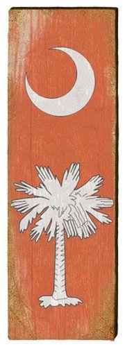 South Carolina Clemson Flag Milled Wood Art