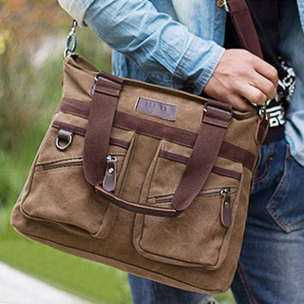 Multi Pocket Crossbody Bag Dual-Use Shoulder Bag Canvas Handbag For Men - US$32.88