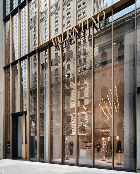 Valentino NY: A new eight-storey facade has been added to the Postmodern building, originally designed by architects John Burgee and Philip Johnson