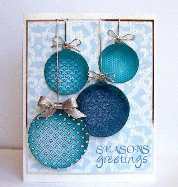 Love the embossing on these ornaments and gems on the largest just make it pop. Inked edges give dimension.: Card Idea, Birthday Card, Holidays Card, Blue Christmas, Ornaments Card, Round Ornaments, Xmas Card, Christmas Card, Christmas Ornament
