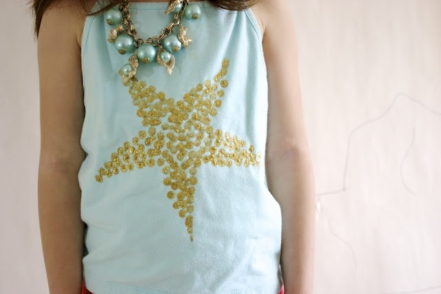 : Freezers Paper, Kids Shirts, Starfish Tanks, Stuff, Mermaids Party, Sequins Starfish, Saia Mini-Sequins, Faux Sequins, Ruffles