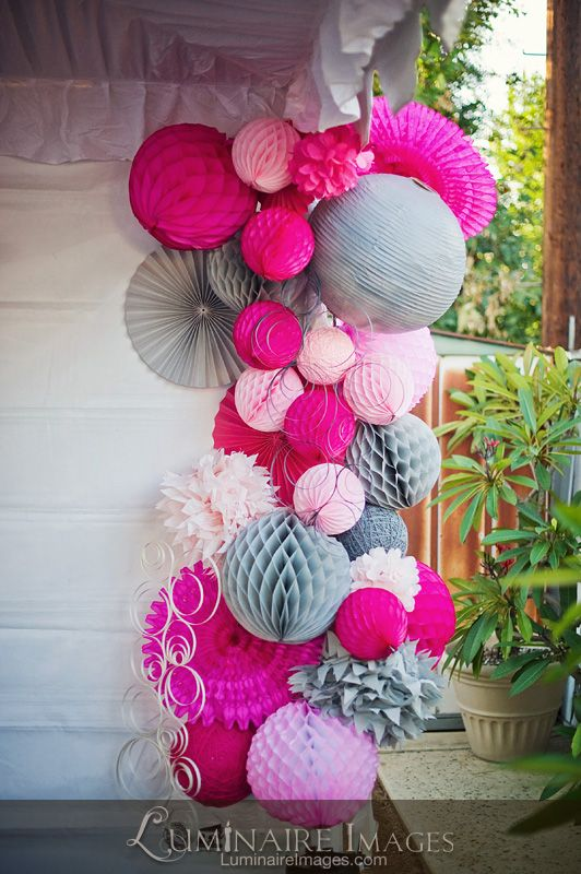"""""""paper fans paper lanterns paper balls Do in purple and yellow or pink and white....Amazing one of a kind art installment by Jennifer Chen!-I love this idea, never saw them all together like this... looks so uniform!"""""""