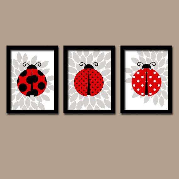 Wall Art Nursery Artwork Girl Child Cute Ladybug Colors Red Black Grey Flower Set of 3 Trio Prints  Decor  Crib   Baby Three on Etsy, $29.00