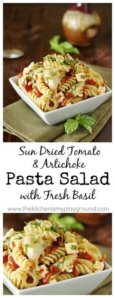 Sun Dried Tomato, Artichoke, & Fresh Basil Pasta Salad ~ perfect for summer picnics & cookouts! www.thekitchenismyplayground.com