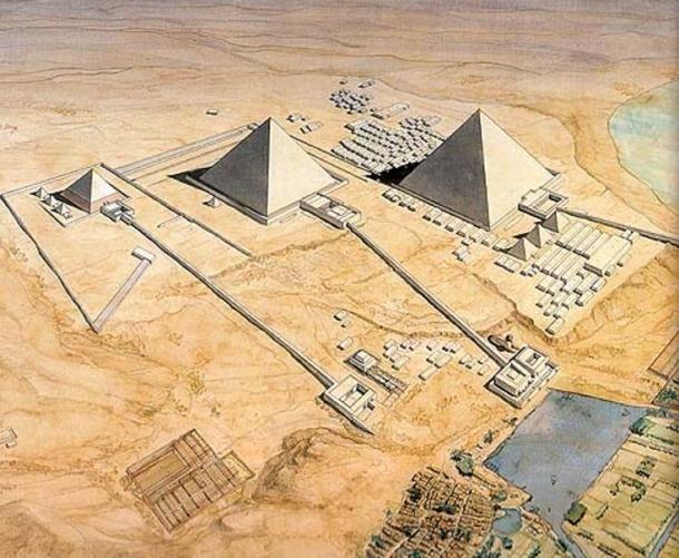 Reconstrucción artística de las pirámides de Giza, que muestra las largas calzadas adjunta a cada complejo