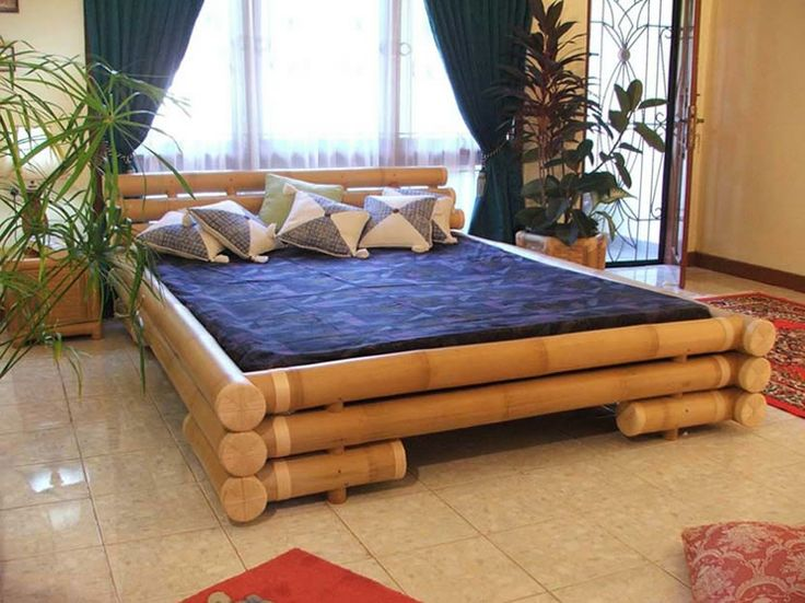 Brilliant Furniture With Bamboo As A Material And Products Worry For  Sustainability Such As Wooden Bed Frame And Navy Blue Bed Cushion Natural  Bamboo As ...