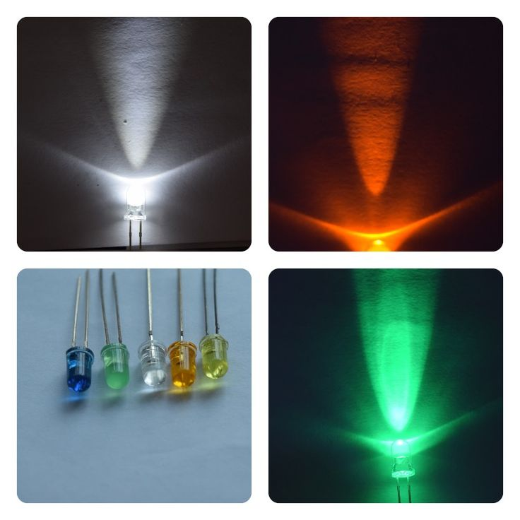 multicolor blue yellow green amber white led diode 5mm