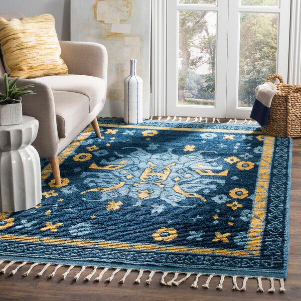 Syed Hand Knotted Wool Cotton Blue Area Rug Blue Area Rugs Area Rugs Rugs