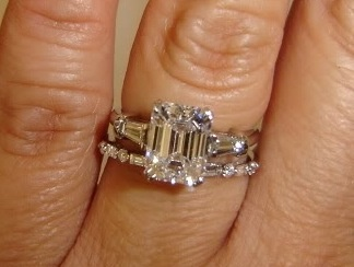 emerald cut with baguettes and baguette wedding band