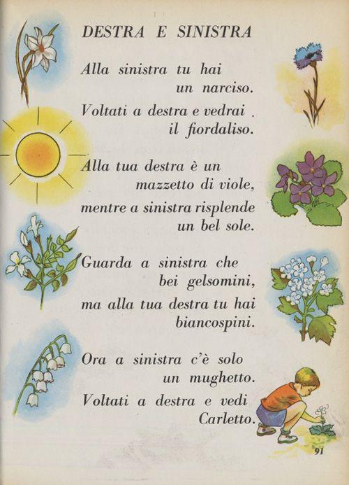"""Testo della poesia: Destra e sinistra tratta dal volume: """"Fili d'erba. Letture per il primo ciclo, classe prima"""" di Anita Romoli Borrani (Vallecchi, 1958)"""