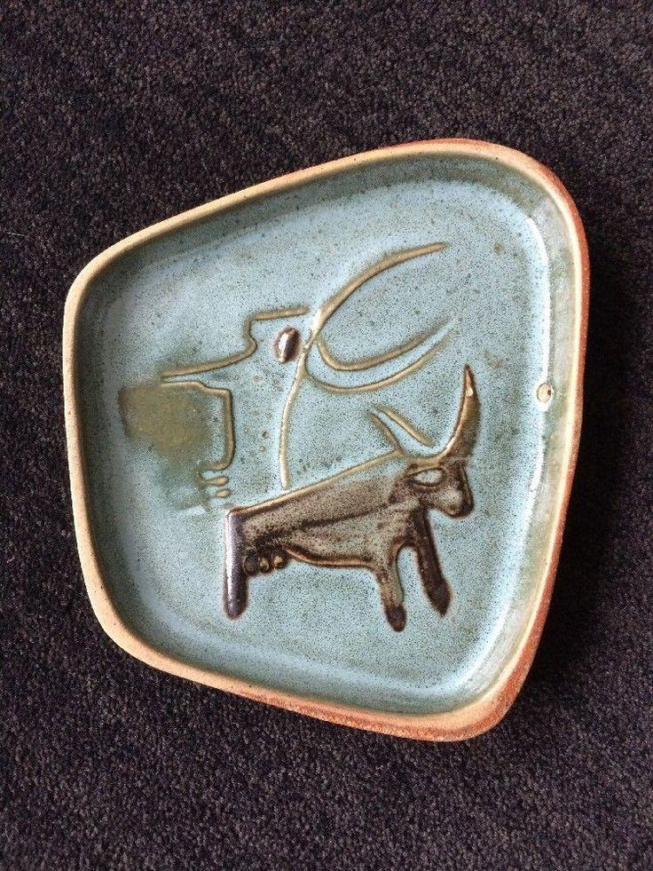 Early DAVID GIL Mid Century Modern Bennington Pottery Bull Tray COOP Mark #MidCenturyModern