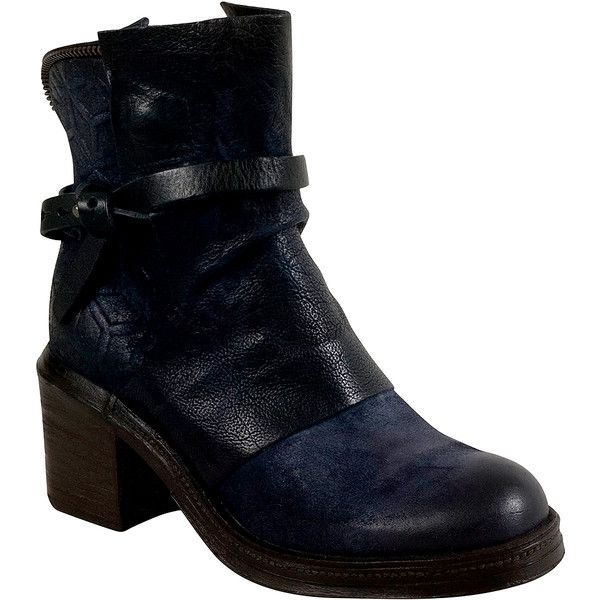 A.S.98 Abe Women's Ankle Boot ($375) ❤ liked on Polyvore featuring shoes, boots, ankle booties, navy, high heel boots, victorian ankle boots, ankle boots, navy booties and navy blue ankle boots