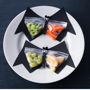 fruit and veggie bat snack craft perfect for a halloween snack for school