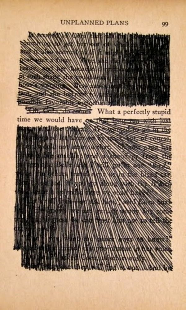 Austin Kleon: Using a black marker, he takes away the words he doesn't need, creating new poetic verses. He has compiled his poetry into a book called Newspaper Blackout and invites others to upload their own blackout poetry on his Tumblr page.