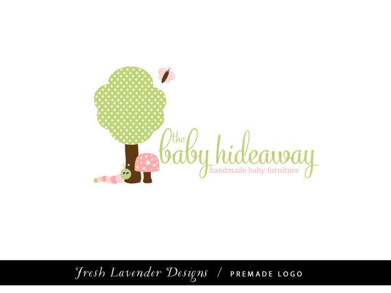 Custom Logo Design Premade Logo for Photographers and Small Business Shabby Chic Woodland Forest Creatures with Tree Baby Logo