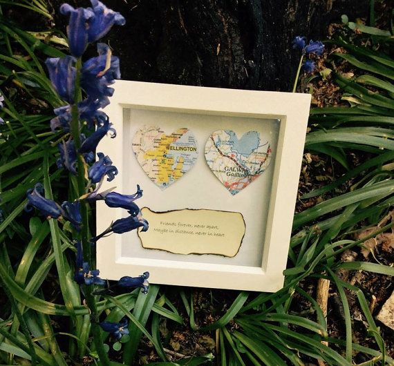 """Friends forever, never apart, maybe in distance, never in heart."""" friends or family in another place? Personalised maps and text"""