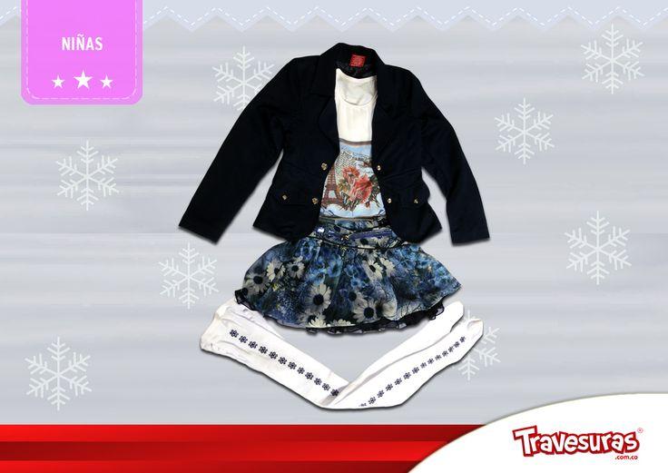 Colección fin de año 2015 - Chaqueta, blusa, falda y medias pantalón niña. Más información en www.travesuras.com.co