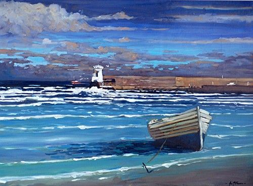 "Alex McKenna, ""Beach, Balbriggan"" #art #beach #Balbriggan #boat #lighthouse #waves #shore #sea #painting #DukeStreetGallery"