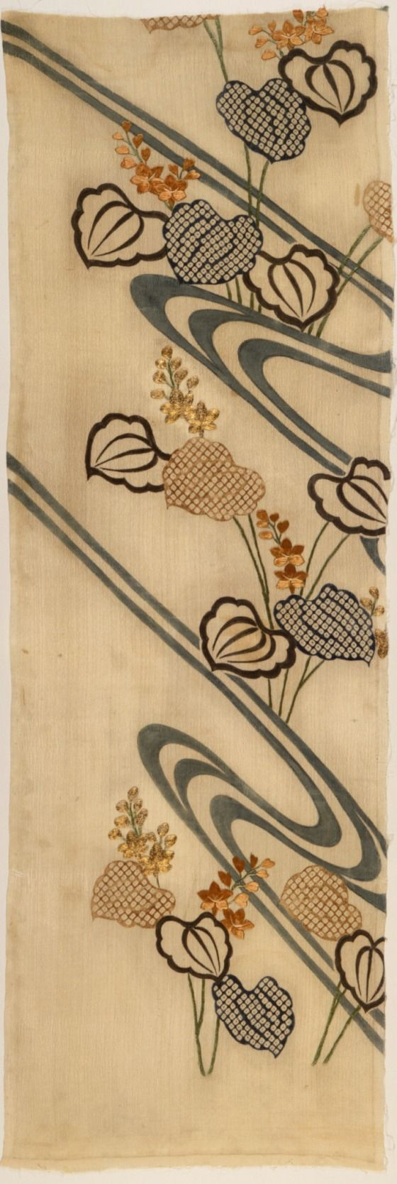 Fragment of a Kimono (Kosode) with Design of Flowing Water and Pickerel Weed (Mizu aoi)