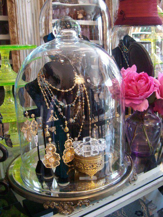 ❥ cloche jewelry display {via Bountiful}