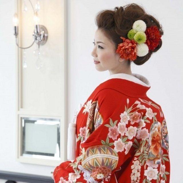 Bright Red Uchikake with Sakura Blossoms