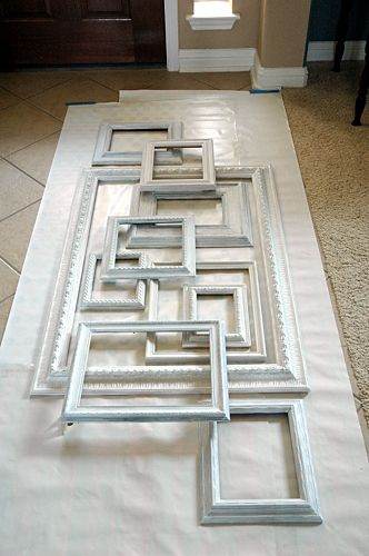 How To: Layered Picture Frames. She ends up painting them different colours but I like the look of all white...