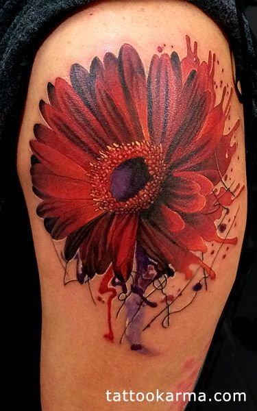 Image result for watercolor gerbera daisy tattoo