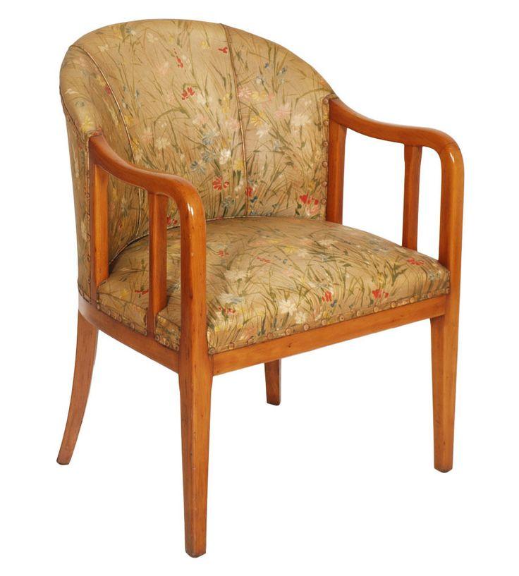 JULES LELEU SEAT SEDIA ART DECO  ARMCHAIR POLTRONCINA TESSUTO ORIGINALE - MA R43 www.artisticantichita.com