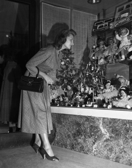 Window Shopping - 1955. Gosh I miss all the individual department stores.  No malls then.