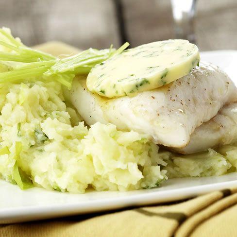 Recepten - Preipuree met vis en kruidenboter