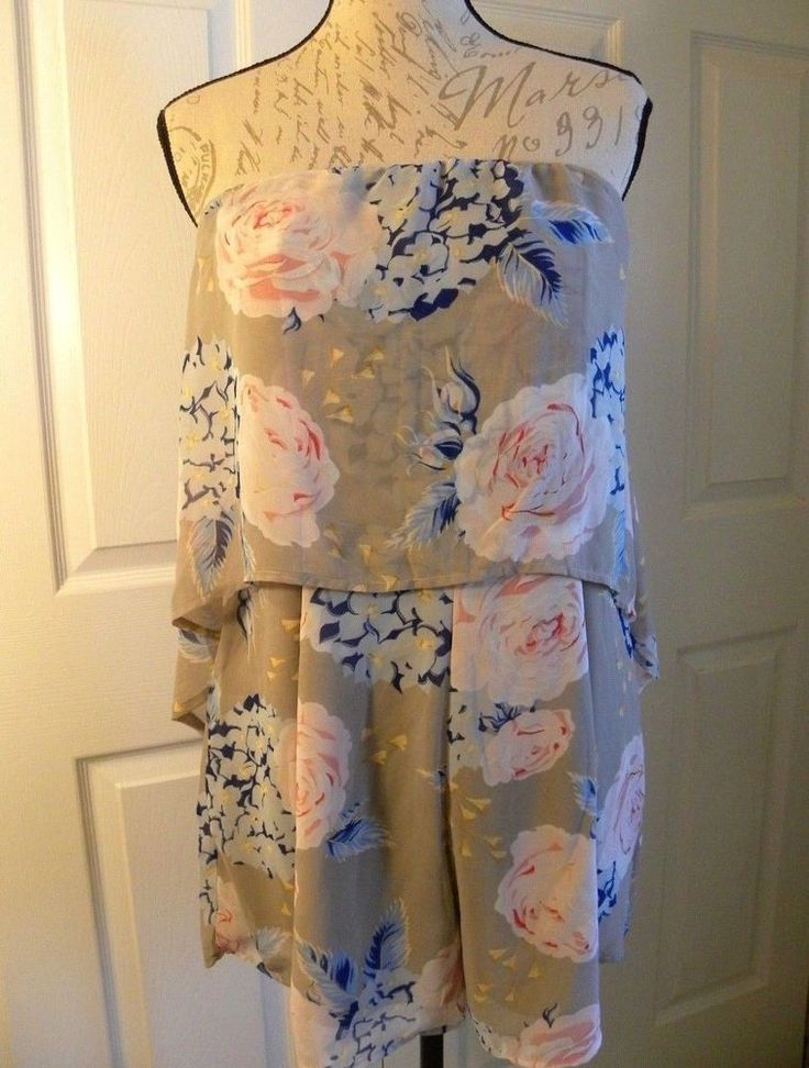 NWT Women's Juniors XL Jumper Shorts Strapless Romper Floral Pink Beige Sexy #LoveFirstSight #Romper #Summer