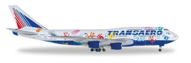"""1/500 Herpa Transaero Airlines """"Flight of Hope"""" Boeing 747-400"""