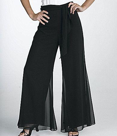 Onyx Nite Woman DrapeTie Chiffon Pants #Dillards Love these pants!