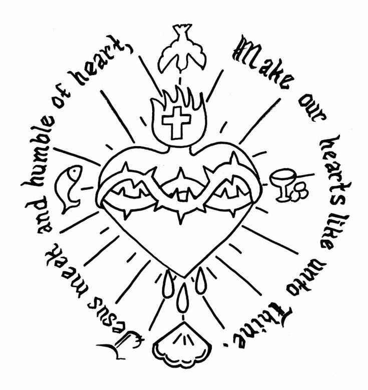 heart and jesus coloring pages - photo#2