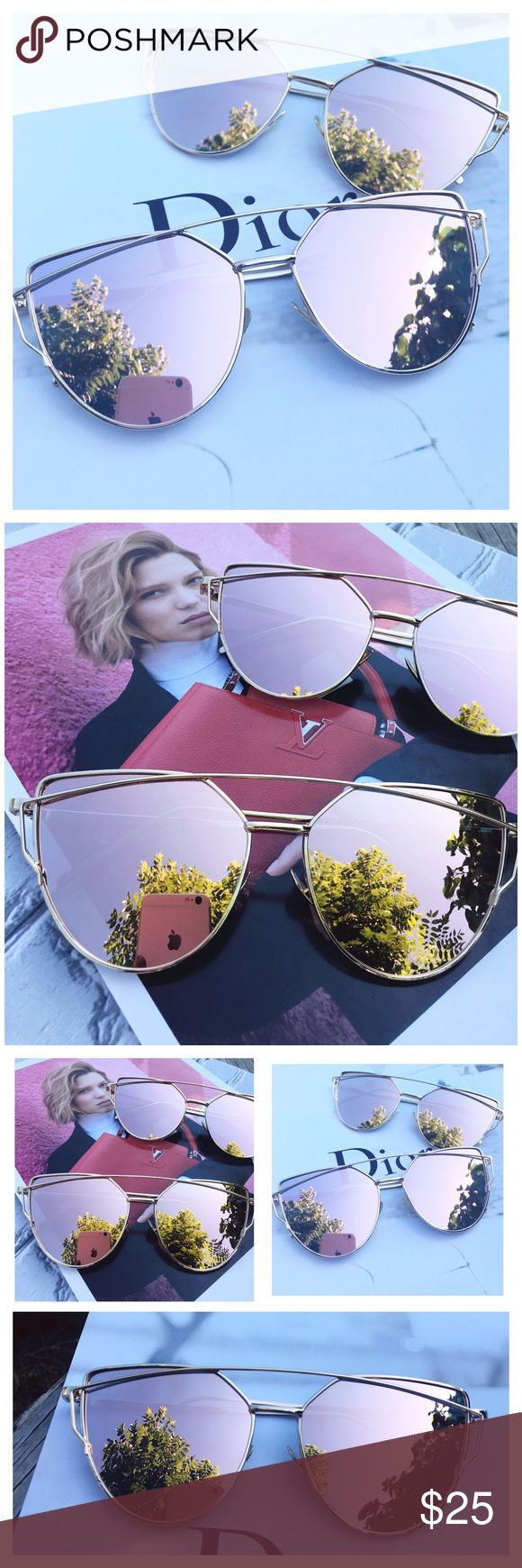 ✨2X HP✨Rose Gold Mirrored Sunglasses Fall Favorites Host Pick! Girly Girl Host Pick! Restocked! Cat Eye Aviator Sunglasses. This listing is for a pair of Cat Eye aviator sunshades. Rose Gold Mirrored Sunglasses. Retro. Sunglasses. Wire sunglasses. Trending sunglasses. UV protection. Top quality! Brand new! Bundle and save!                                                                       ✨1 for $20, 2 for $30, 3 for $40✨ тнαик уσυ Accessories Sunglasses