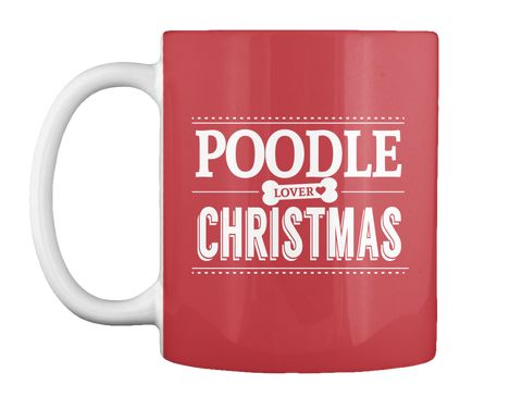 Poodle Lover Christmas Bright Red Mug Front